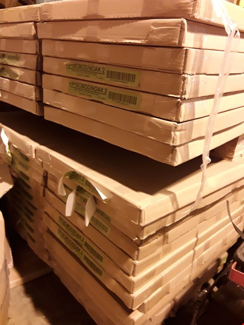 Lot 12111 PALLET OF APPROXIMATELY 42 FRACTION PLUS CORE NOVA OAK MODESTY PANEL  FO18CMOD/NOAK2