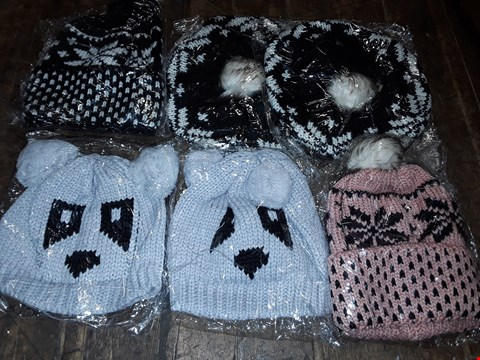 Lot 1103 BOX OF APPROXIMATELY 70 ASSORTED BRAND NEW HATS TO INCLUDE GREY PANDA KNITTED HAT, BLACK/WHITE KNITTED HAT WITH FAUX FUR POM POM