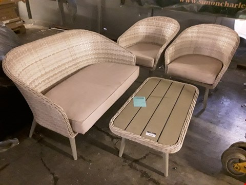 Lot 3013 BEIGE RATTAN COFFEE SET COMPRISING, TWO SEATER SOFA, 2 EASY CHAIRS WITH CUSHIONS & COFFEE TABLE