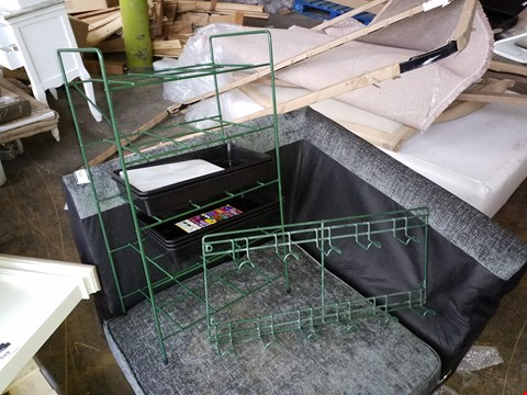 Lot 10018 PALLET OF ASSORTED GARDEN ITEMS TO INCLUDE GREEN PAINTED METAL  HANGING STORAGE RACK AND 6 TEIR GREEN PAINTED METAL PLANT STORAGE RACK