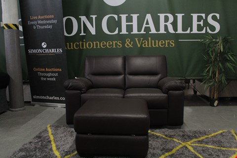Lot 10024 DESIGNER BROWN ITALIAN LEATHER 3 SEATER SOFA, 2 SEATER SOFA AND STORAGE FOOTSTOOL
