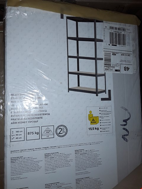 Lot 1019 BOXED HEAVY DUTY 5 SHELF STORAGE SHELVING UNIT RRP £42.00