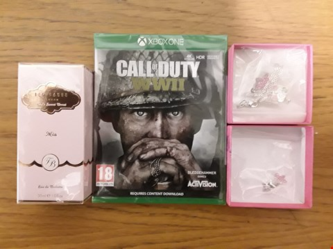 Lot 1416 BOX OF 9 ASSORTED BRAND NEW ITEMS TO INCLUDE ME TO YOU TATTY TEDDY NECKLACE AND EARRINGS, TED BAKER MIA 30ML EAU DE TOILETTE, CALL OF DUTY WW2 XBOX ONE GAME RRP £287