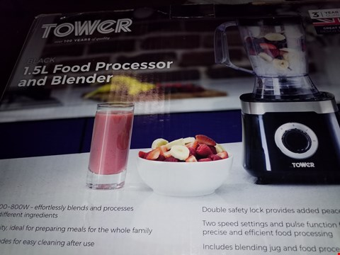 Lot 12593 TOWER T18004 FOOD PROCESSOR WITH 1.4 LITRE BLENDING JUG & 1.5 LITRE FOOD PROCESSOR BOWL 600 W