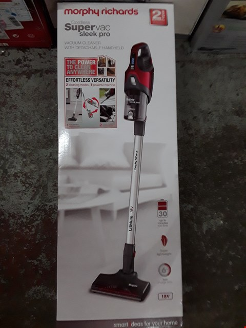 Lot 336 MORPHY RICHARDS CORDLESS SLEEK PRO VACUUM WITH DETACHABLE HEAD