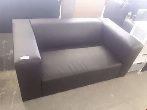 Lot 11 DESIGNER BLACK FAUX LEATHER COMPACT 2 SEATER SOFA