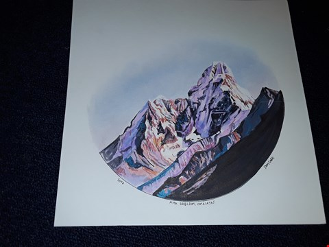 Lot 7 SAM GARE 'DAY 28 THE BEAUTIFUL AMA DABLAM, AT SUNSET' PEN AND PASTEL ON MOUNTBOARD