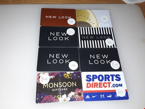 Lot 2 8 ASSORTED CLOTHING GIFT CARDS, INCLUDING NEW LOOK, MONSOON, CLARKS AND SPORTS DIRECT.  TOTAL VALUE £150