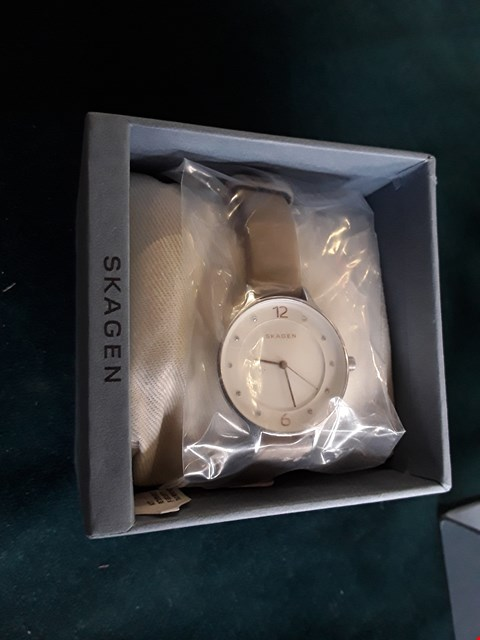 Lot 70 DESIGNER SKAGEN ANITA LADIES WRIST WATCH ON NUDE LEATHER STRAP