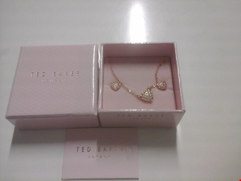 Lot 1540 BOXED TED BAKER ROSE GOLD PAVE HEART PENDANT AND EARRING SET  RRP £85