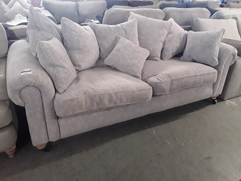 Lot 111 QUALITY BRITISH DESIGNER MINK FABRIC SCROLL ARM THREE SEATER SOFA WITH SCATTER CUSHIONS