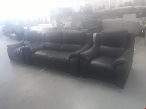 Lot 2 DESIGNER GREY ITALIAN LEATHER FIXED 3 SEATER SOFA AND 2 RECLINING ARMCHAIRS