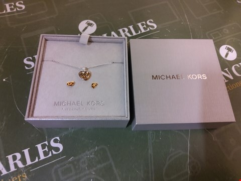 Lot 9 BOXED MICHAEL KORS TWO TONE LOGO HEART NECKLACE AND EARRINGS SET