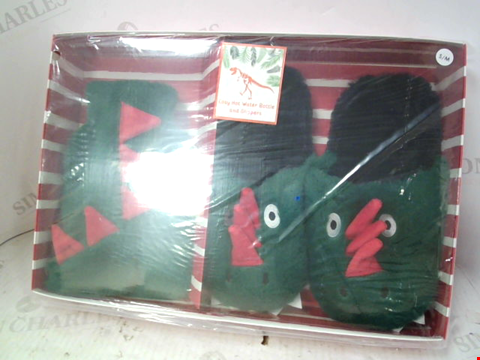 Lot 10165 DINO SLIPPERS AND HOT WATER BOTTLE GIFTSET 4-5 RRP £12.00