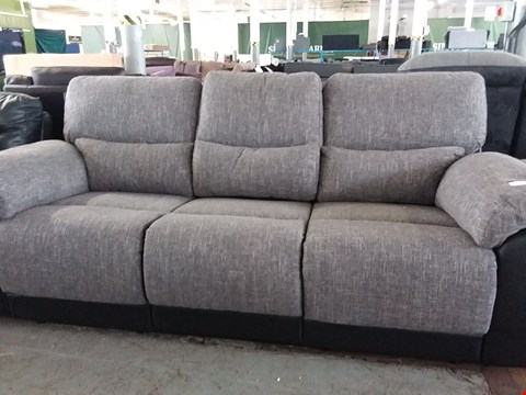 Lot 84 DESIGNER GREY FABRIC AND BLACK FAUX LEATHER 3 SEATER SOFA
