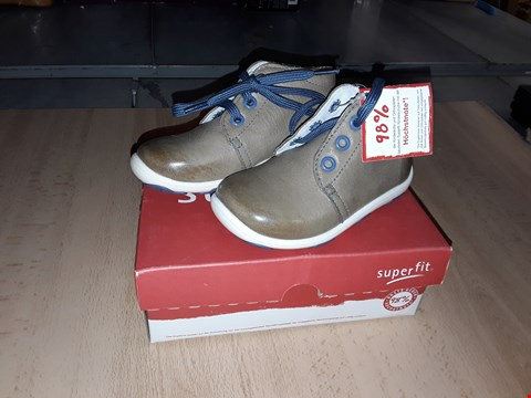 Lot 12379 BOXED SUPERFIT DONNY CAMEL NAPPA LEATHER LACE UP BOOTS UK SIZE 5.5 JUNIOR