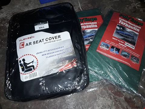Lot 3063 THREE ITEMS, 2 × POLYTARPS 2.4 × 3M & SET UNIVERSAL SEAT COVERS