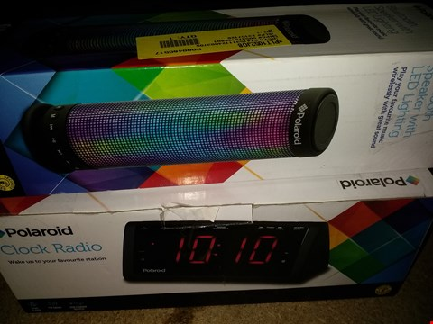 Lot 1150 LOT OF 2 ASSORTED POLAROID ELECTRONIC DEVICES, 1X BLUETOOTH SPEAKER WITH LED LIGHTING, 1X CLOCK RADIO