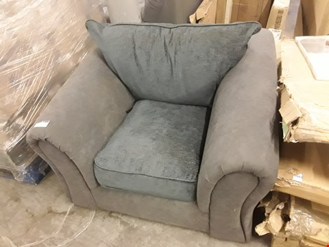Lot 3569 DESIGNER GREY AND BLUE FABRIC ARMCHAIR