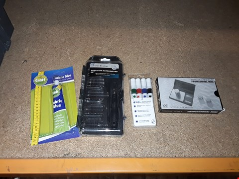 Lot 4 BOX OF ASSORTED ITEMS TO INCLUDE FABRIC GLUE, MINI DIGITAL SCALE AND PRECISION SCREWDRIVER SET ECT (BOX NOT INCLUDED)
