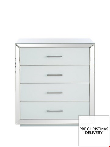 Lot 3507 BOXED ELEGANCE WHITE AND MIRRORED 4 DRAWER CHEST