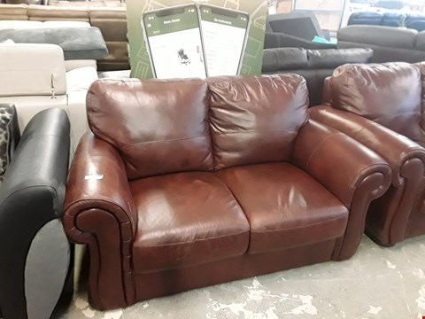 Lot 39 DESIGNER BROWN FAUX LEATHER 2 SEATER SOFA