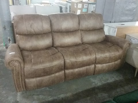 Lot 5 DESIGNER BROWN FAUX LEATHER THREE SEATER POWER RECLINING SOFA WITH STUD-ARM DETAIL