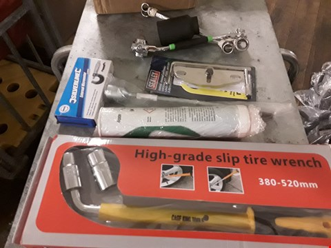 Lot 3060 BOX OF ASSORTED TOOLS, INCLUDING, TYRE WRENCH, SEALEY DEISEL ENGINE SETTING/LOCKING KIT, SEALEY BREAKER BAT, SILVERLINE MICROMETER, TUBE CASTROL GREASE, SPANNERS,