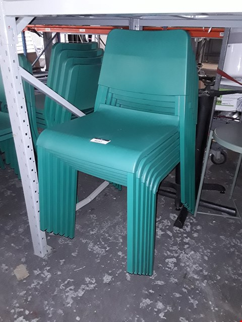 Lot 8057 LOT OF APPROXIMATELY 10 GREEN DINING CHAIRS