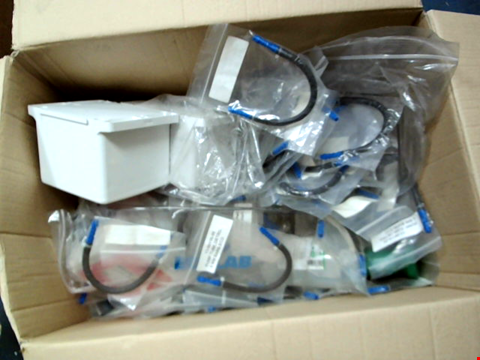 Lot 11629 BOX OF LARGE QUANTITY OF ASSORTED ECOLAB PARTS TO INCLUDE CONNECTION BOXES AND PUMP TUBES