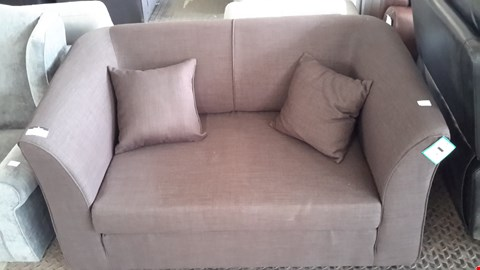 Lot 17 DESIGNER BROWN FABRIC SMALL 2 SEATER SOFA