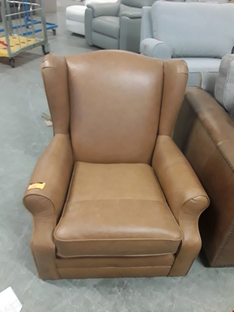 Lot 150 QUALITY BRITISH DESIGNER TAN LEATHER SHERLOCK COMPACT WING BACK ARMCHAIR