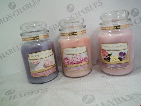 Lot 1205 1 LARGE JAR BLUSH BOUQUET YANKEE CANDLE, 1 LARGE JAR SWEET MORNING ROSE YANKEE CANDLE AND A LARGE JAR FLORAL CANDY YANKEE CANDLE