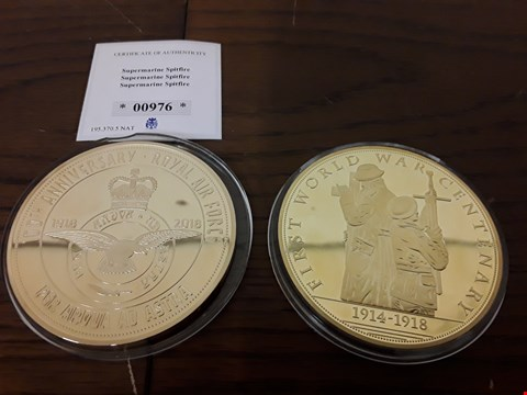 Lot 9152 LOT OF 2 LARGE GOLD PLATED COMMEMORATIVE COINS TO INCLUDE 100TH ANNIVERSARY COIN OF SUPERMARINE SPITFIRE