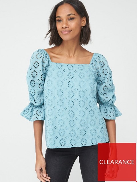 Lot 3678 BRAND NEW V BY VERY SQUARE NECK BRODERIE TOP - BLUE UK SIZE 6