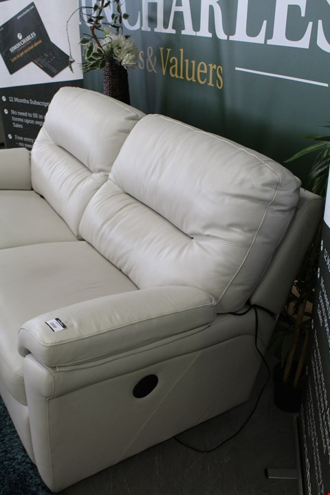 Lot 10030 QUALITY BRITISH DESIGNER HARDWOOD FRAMED CREAM LEATHER POWER RECLINING THREE SEATER SOFA