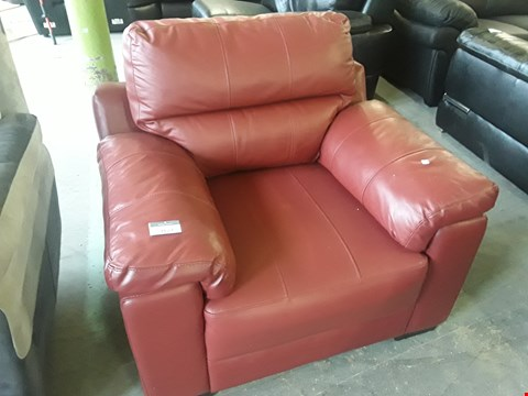 Lot 40 DESIGNER RED FAUX LEATHER EASY CHAIR