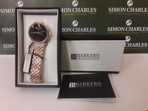 Lot 167 BOXED BARKERS OF KENSINGTON ROSE GOLD AND BLACK LADIES WATCH