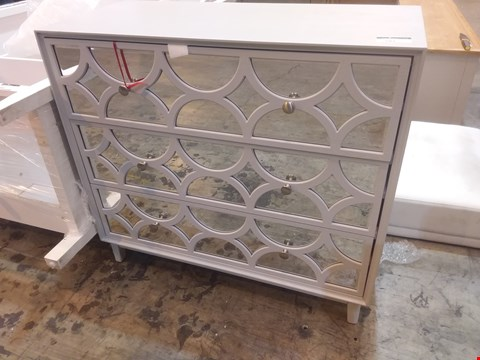 Lot 581 DESIGNER GREY PAINTED 3 DRAWER CHEST WITH MIRRORED FRONT