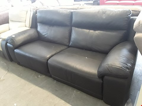Lot 94 DESIGNER HAYLEY BLACK LEATHER POWER RECLINING 3 SEATER SOFA  RRP £3398.00