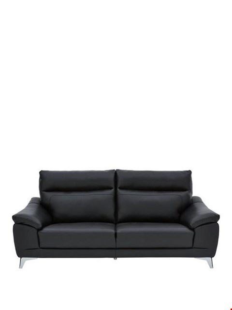 Lot 463 BRAND NEW DESIGNER NORDIC BLACK 3 SEATER SOFA  RRP £649