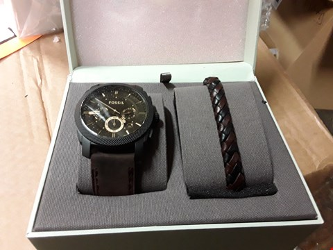 Lot 4 GRADE 1 FOSSIL MACHINE WATCH AND LEATHER CUFF BRACELET  RRP £200.00
