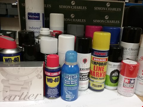 Lot 108 BOX OF APPROX X20 ASSORTED AEROSOLS INCLUDING VIRBAC, RAPIDE & WD40