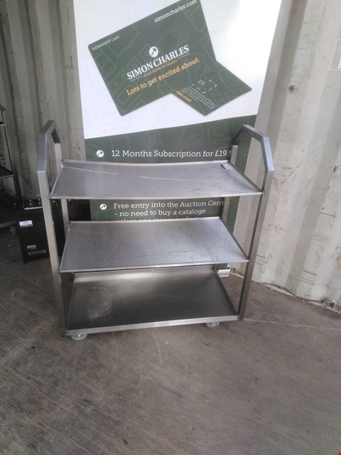 Lot 3002 STAINLESS STEEL 3 TIER MOBILE SHELVING
