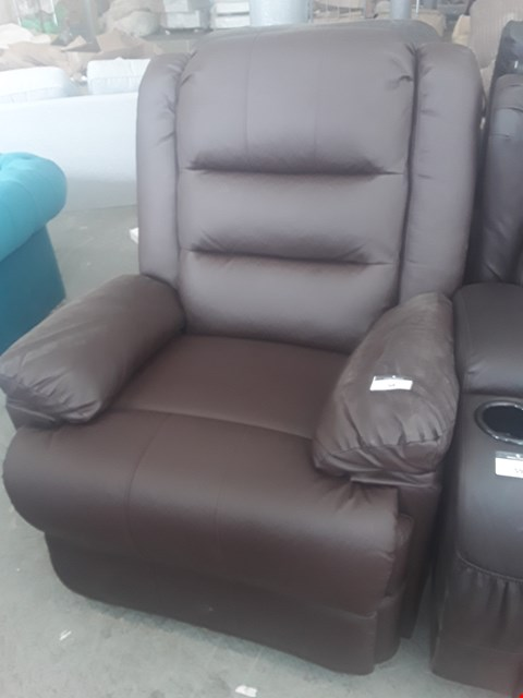 Lot 58 DESIGNER LOXLEY BROWN LEATHER MANUAL RECLINING EASY CHAIR RRP £384.99