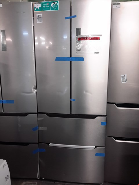 Lot 195 HISENSE FRIDGE WITH 2 DRAWER FREEZER IN SILVER  RRP £1139