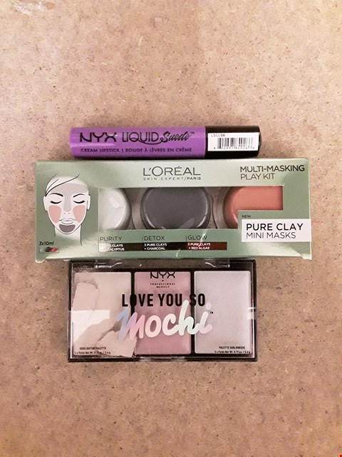 Lot 2477 LOT OF 3 BEAUTY PRODUCT ITEMS TO INCLUDE L'OREAL SKIN EXPERT MULTI-MASKING PLAY KIT, NYC LOVE YOU SO MUCH MOCHI HIGHLIGHTER PALETTE AND LIQUID SUEDE CREAM LIPSTICK  RRP £40
