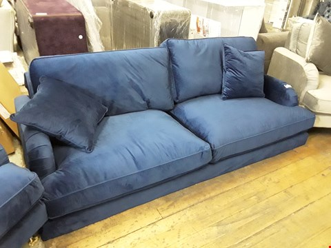 Lot 343 DESIGNER BLUE PLUSH VELVET 3 SEATER VINTAGE STYLE SOFA