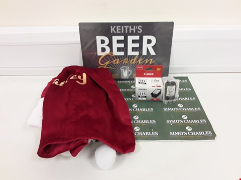 Lot 9370 LOT OF 3 ASSORTED ITEMS TO INCLUDE PERSONALISED CHRISTMAS SACK, CANON INK CARTRIDGE AND PERSONALISED METAL SIGN