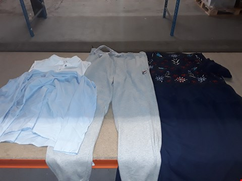 Lot 9407 4 BOXES OF APPROXIMATELY 120 ASSORTED CLOTHING ITEMS INCLUDING GREY CUFFED JOGGING BOTTOMS, BLUE/WHITE LAYERED SHIRT AND NAVY EMBROIDERED PEPLUM DRESS